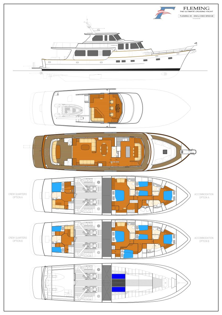 Fleming 85 Enclosed Flybridge version.Click the plan for a larger image.