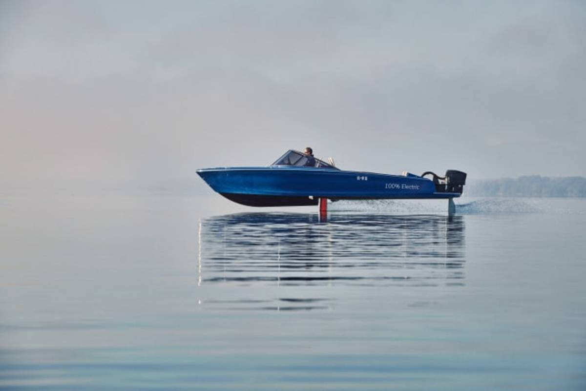 The world's first fully electric foiling vessel utilizes Torqeedo's Deep Blue 50i