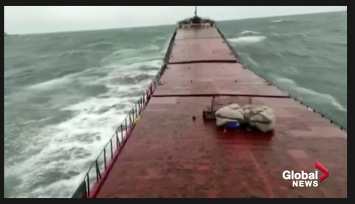 A bridge camera captures the moment a cargo ship is snapped in half off the coast of Turkey. Click here to watch.