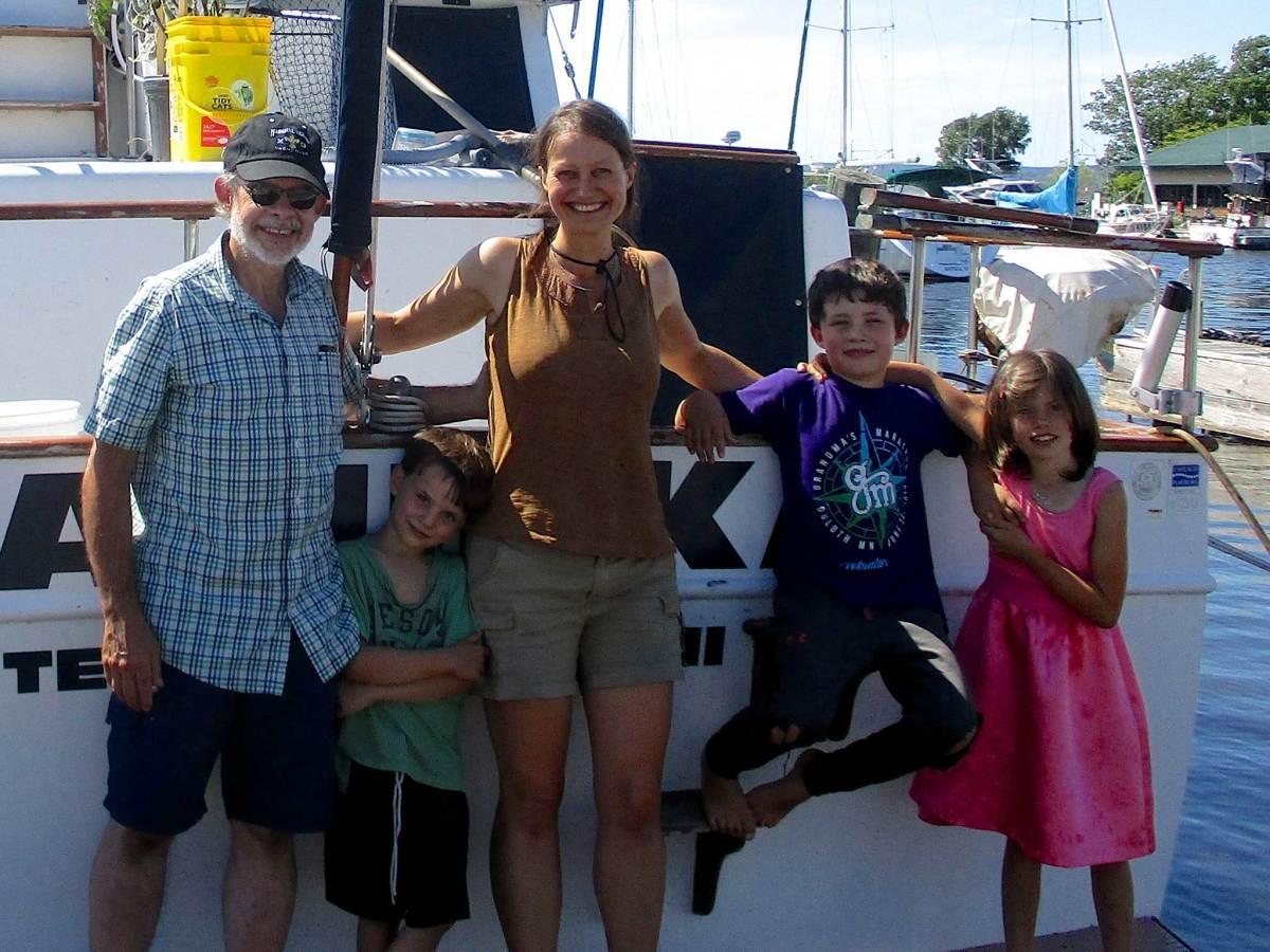 "The Schneiderhan family in the Apostle Islands last summer with their 38-foot Marine Trader ""Mazurka"""