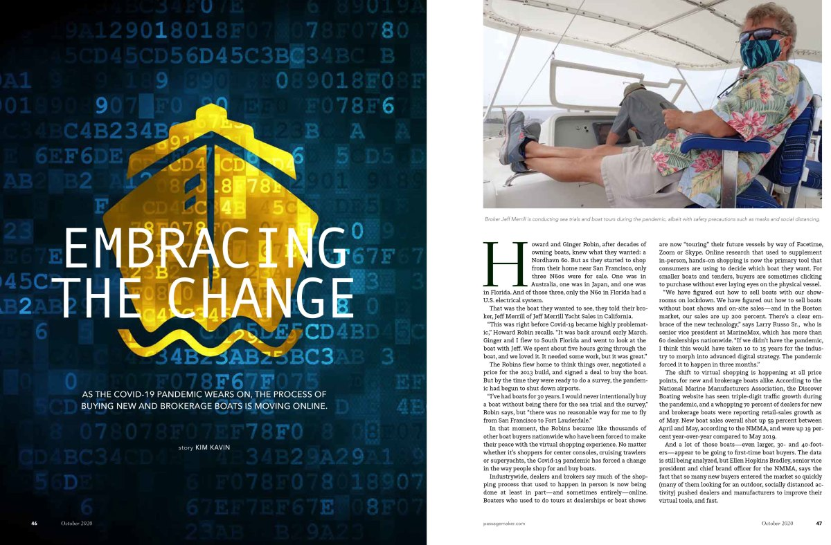 """Kim Kavin's 1st Place award winning feature""""Pandemic Boat Buying""""in the Business of Boating category. CLICK HERE TO READ."""