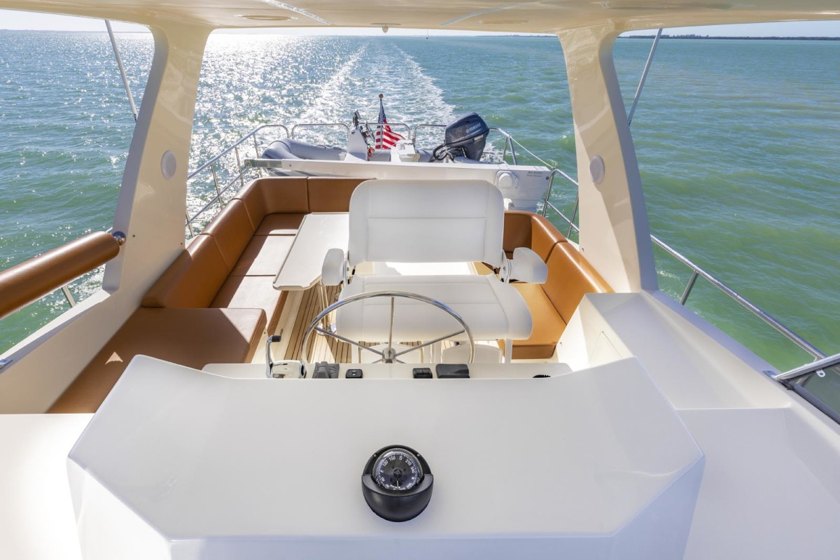 A well-configured flybridge like this one on the North Pacific 49 Euro is delightful when the conditions are right.