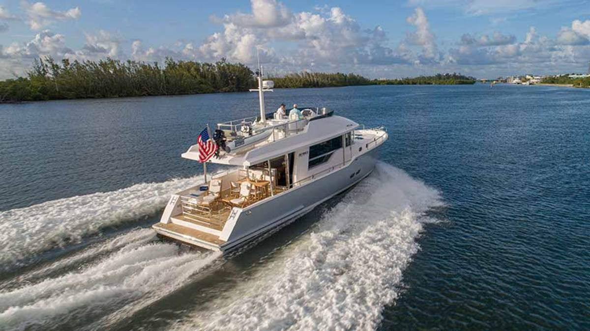 The Outback 50 combines the feel of being aboard a trawler yacht with the ability to cruise faster than 20 knots.