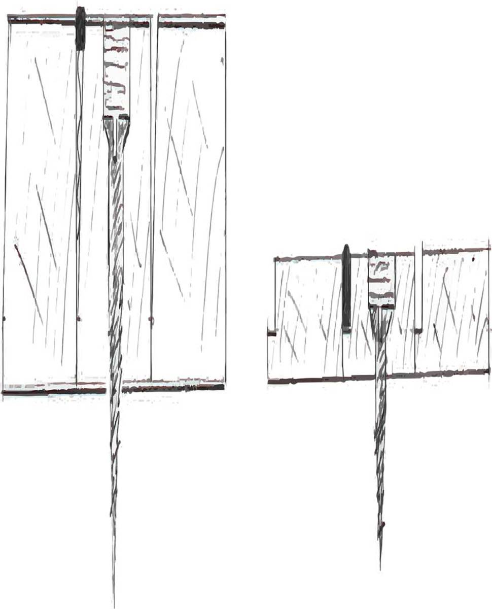 The traditional teak deck (A) offers ample thickness for wear. The V-shaped caulking seam is deep and narrows gradually, providing room for recaulking and resetting the screws multiple times. The modern teak deck (B) weighs and costs far less, but the shallow seam has little room for wear, and that screw can be reset once but no more than that.