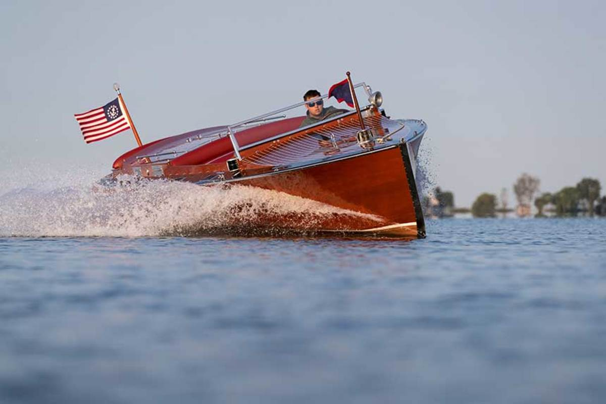 Today, it can sometimes be hard to tell whether a classic-looking boat like this vintage runabout is a high-end replica, a restomod or a more conventional restoration.