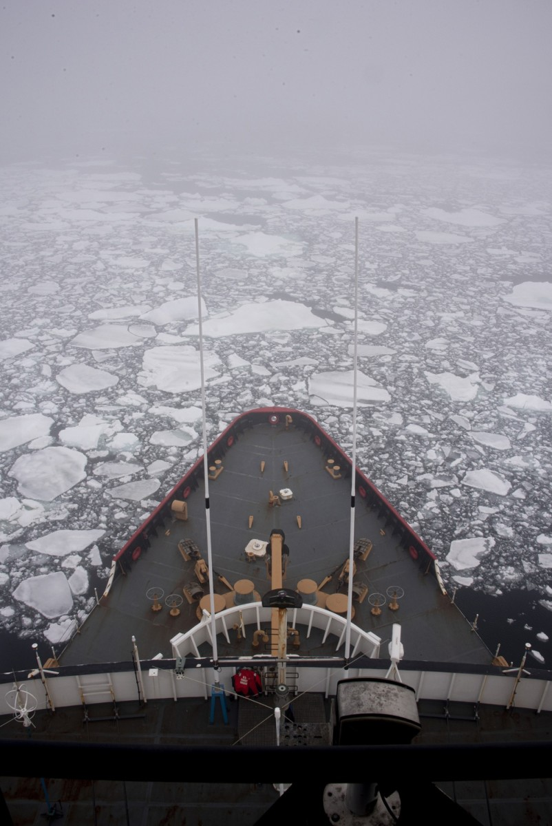 The Coast Guard Cutter Polar Star moves through pack ice Dec. 28, 2019, about 200 miles north of McMurdo Station, Antarctica. The 43-year-old Polar Star is the nation's only heavy icebreaker, and the crew is heading to McMurdo Station to escort refuel and resupply ships through the ice, which can be as thick as 10 feet. This year marks the 64th iteration of the operation known as Operation Deep Freeze. U.S. Coast Guard photograph by Senior Chief Petty Officer NyxoLyno Cangemi.