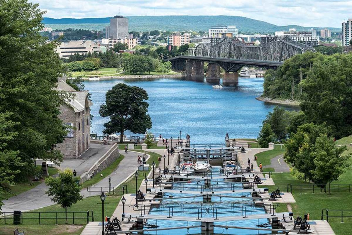The Rideau Canal connects Ottawa, Ontario, to Lake Ontario. The 125-mile waterway dates back to the 1800s and has 45 locks. They're filled more with recreational boaters than commercial ones nowadays.