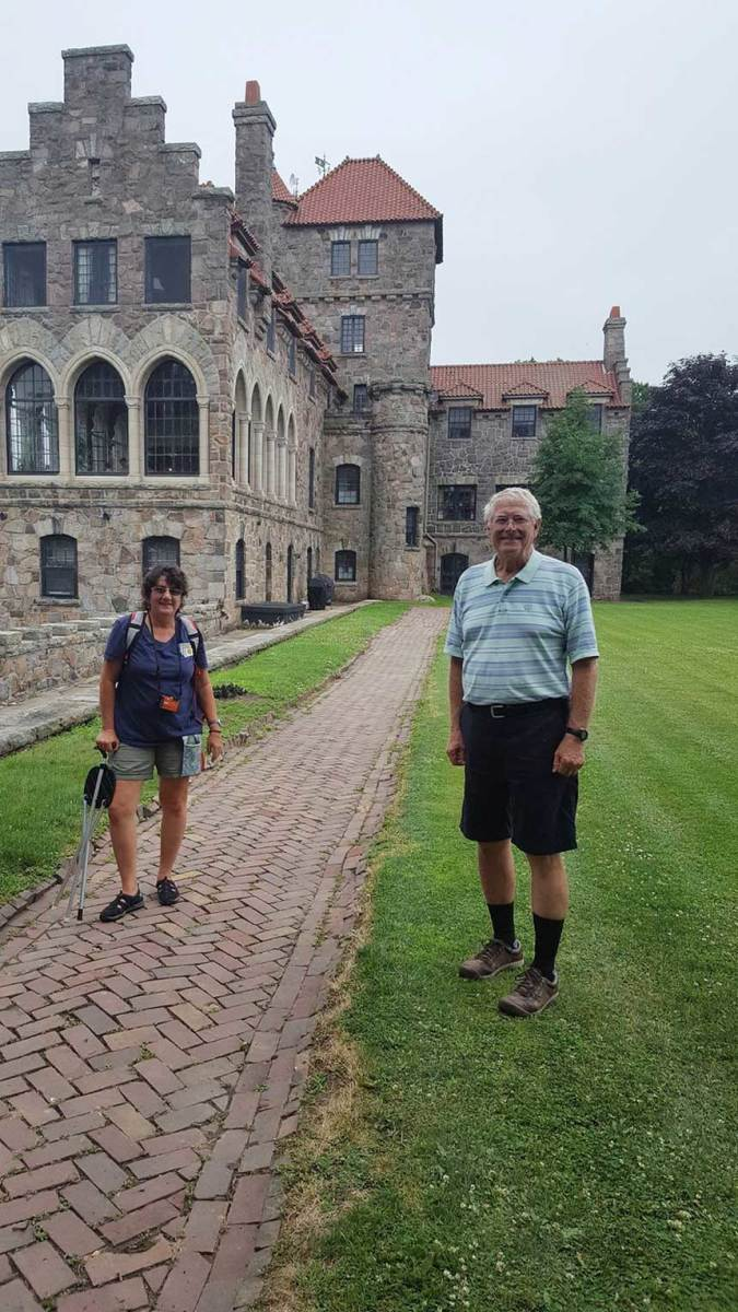 Susan Pellett and her Great Loop cruising partner, Silverton owner Thom Frederick, at Singer Castle in Chippewa, New York.