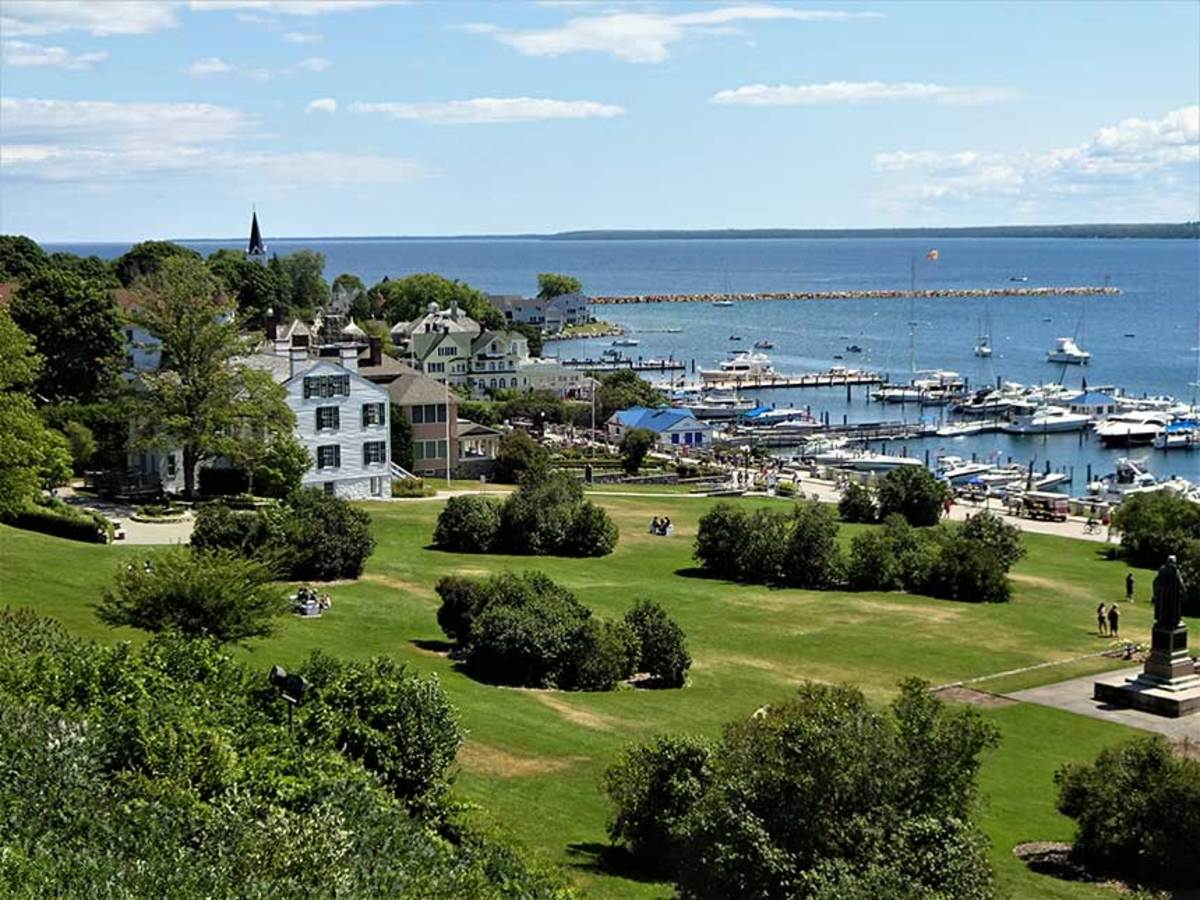 Mackinac Island in Lake Huron is a popular Great Loop stop. The entire island is a National Historic Landmark, with its history dating back even farther than the Great Lakes fur trade of the 17th century.