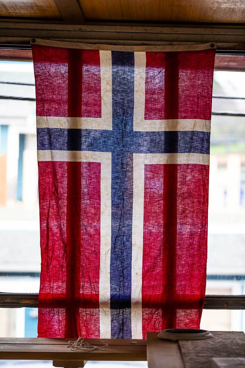 The Norwegian flag flies as an homage to Poulsbo's Nordic immigrant roots.