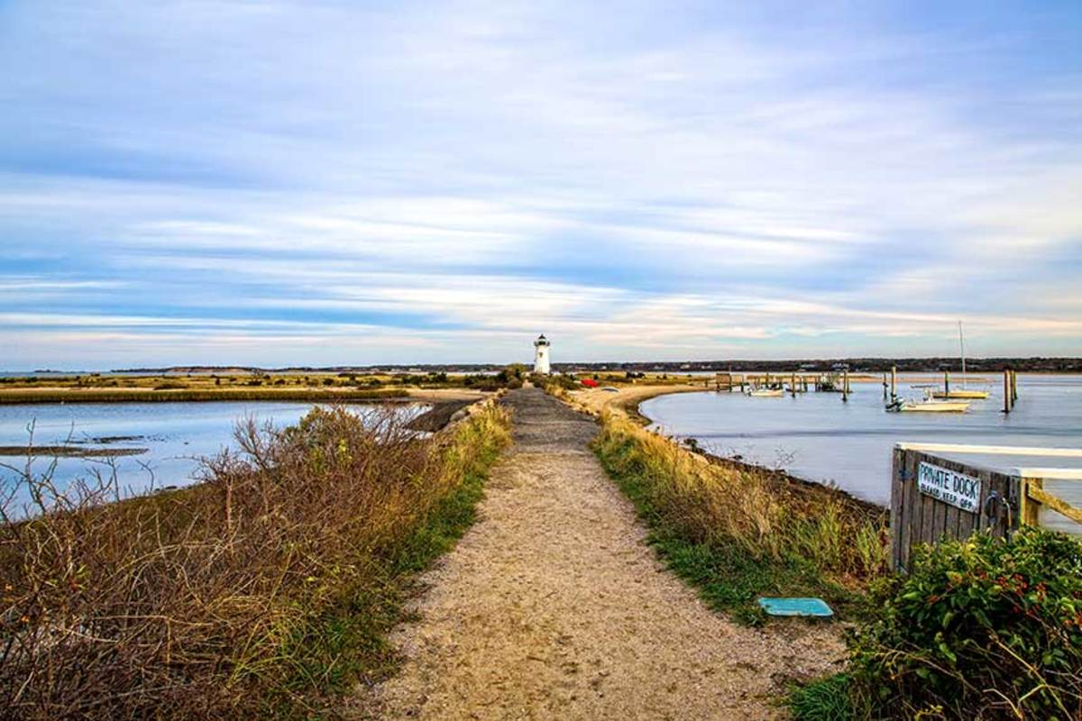 Northern exposure.  Originally located on an artificial island a quarter mile from shore, Edgartown Harbor Light on Martha's Vineyard is now surrounded by a beach formed by sand accumulating around the stone causeway that connects it to the mainland.