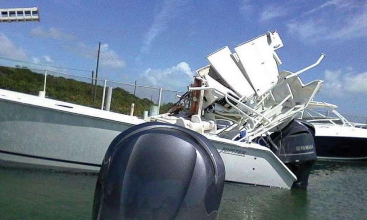 A stolen boat after it hit a bridge in the Exumas, Bahamas.