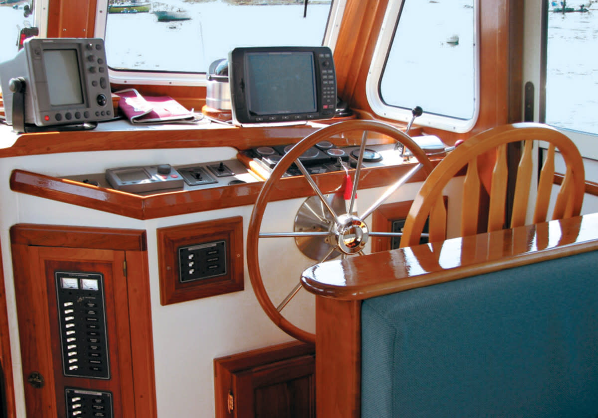 "The helm of Trekkin, our Duffy 35 ""lobster cruiser"""