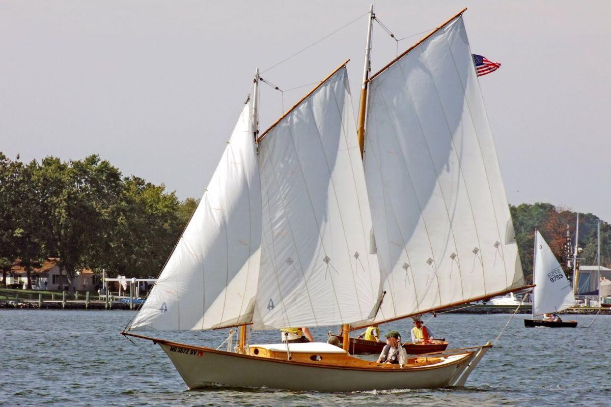 A Tancook whaler full-sail in a Nova Scotia bay
