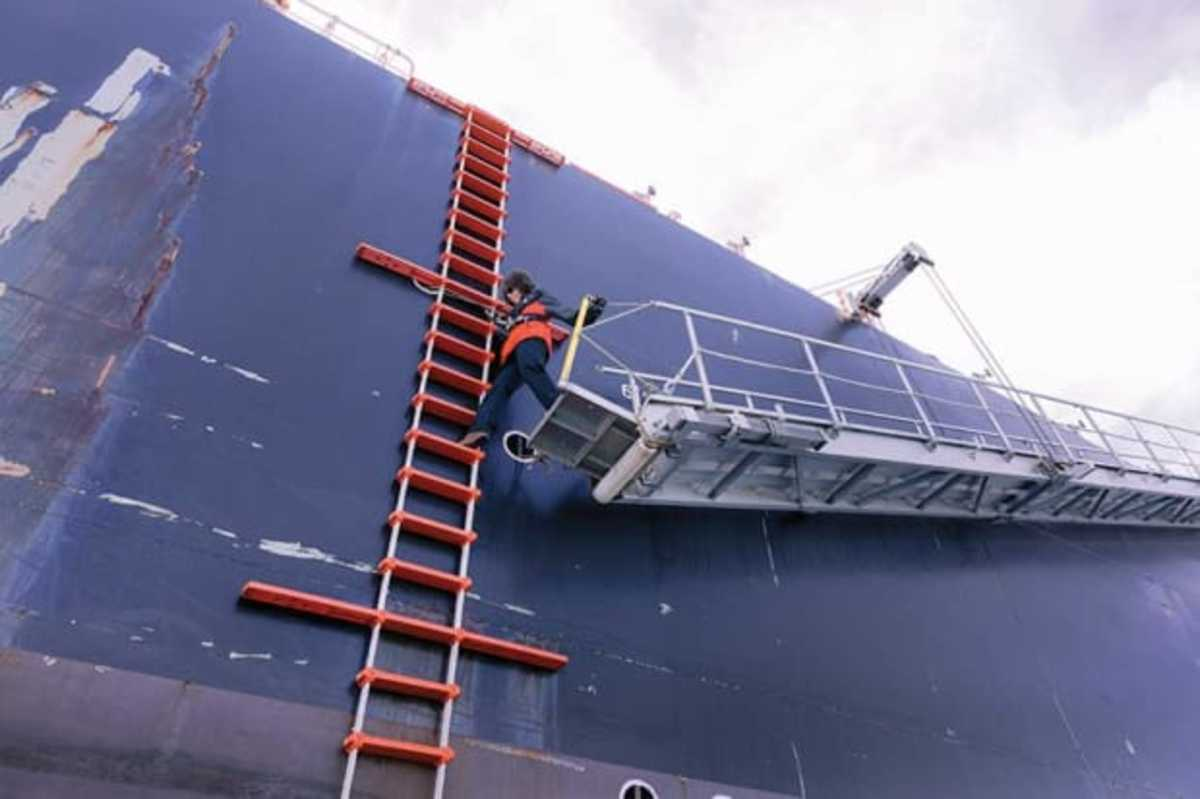 The most dangerous part of a pilot's job is using the pilot ladder to get on and off ships at sea.