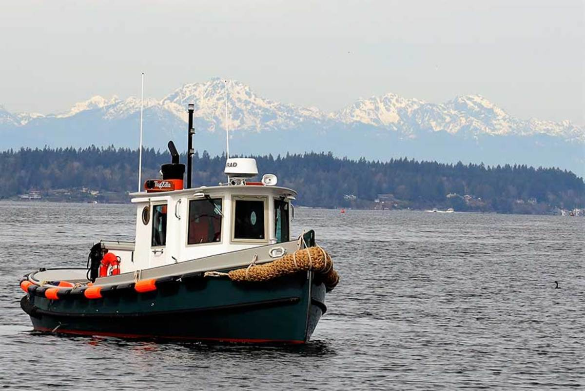 TugZilla's first sea trial in front of the Olympic mountain range in south Puget Sound.