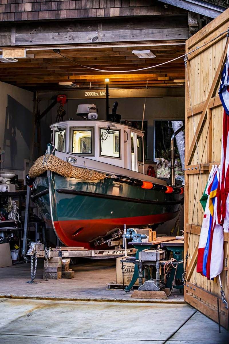 TugZilla, tucked away in one of Sam Devlin's three sheds on his 9-acre property. The 26-footer is built to proper working tugboat specifications, but she's small enough to not warrant the legal certification required for operators of larger tugs.