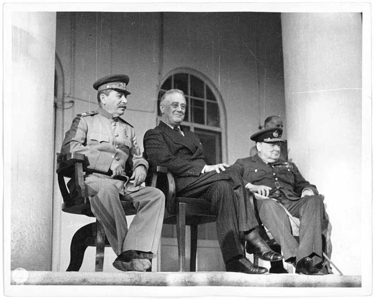 Stalin, FDR and Churchill meet at the Tehran Conference, where plans were advanced for the defeat of Adolph Hitler's Nazi Germany.