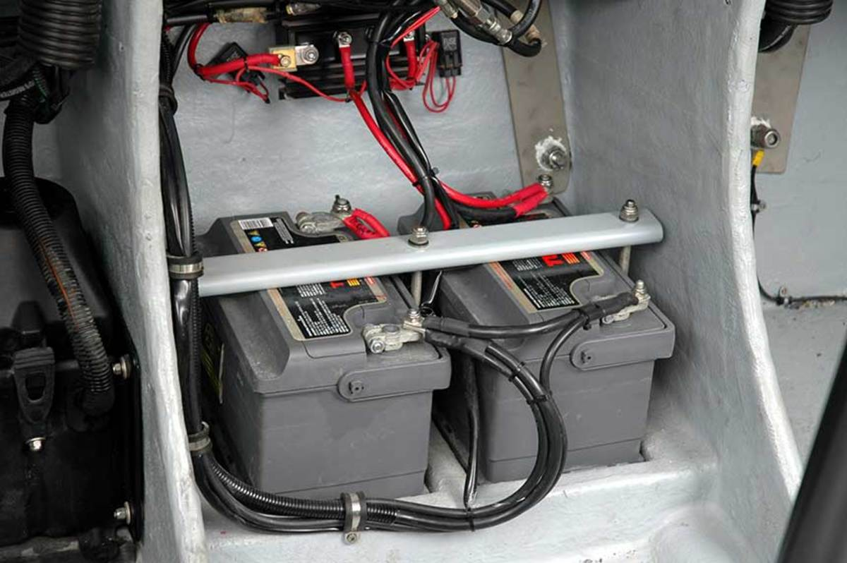 The battery installation appears to be secured properly, but the exposed terminals need to be addressed.