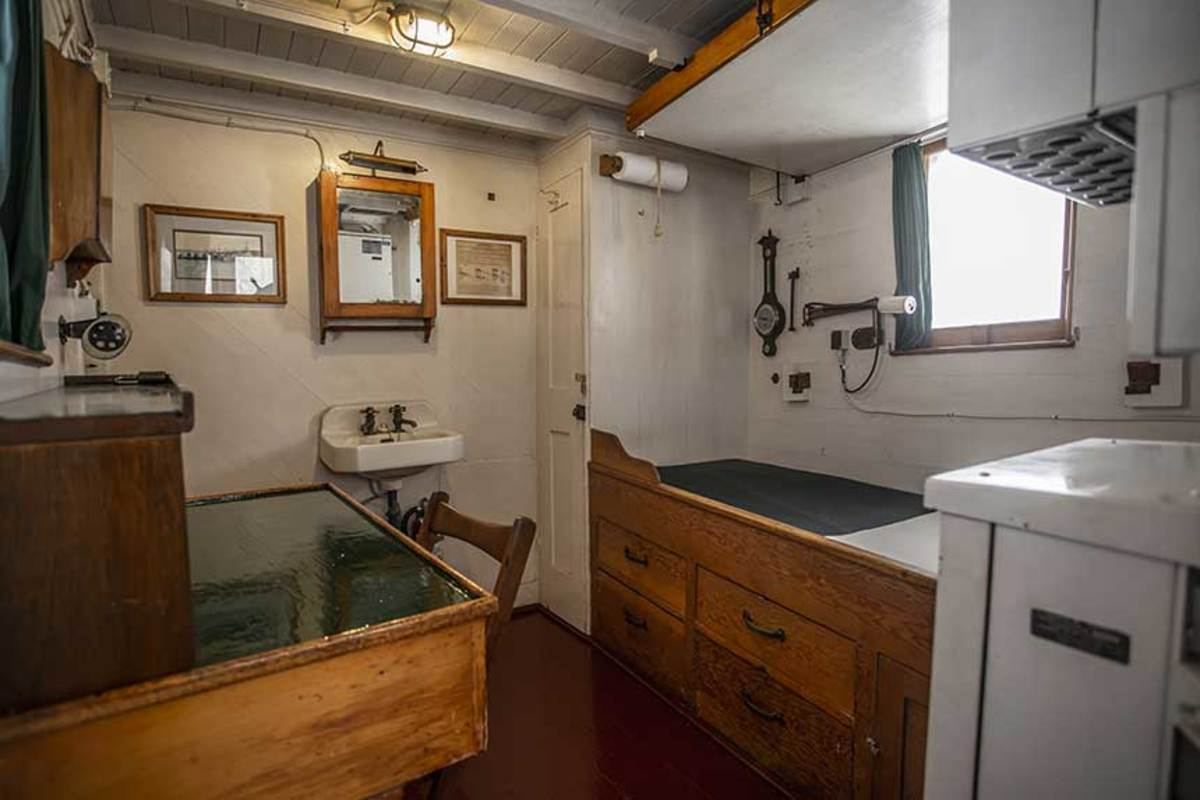 The captain's cabin is simple, yet spacious.