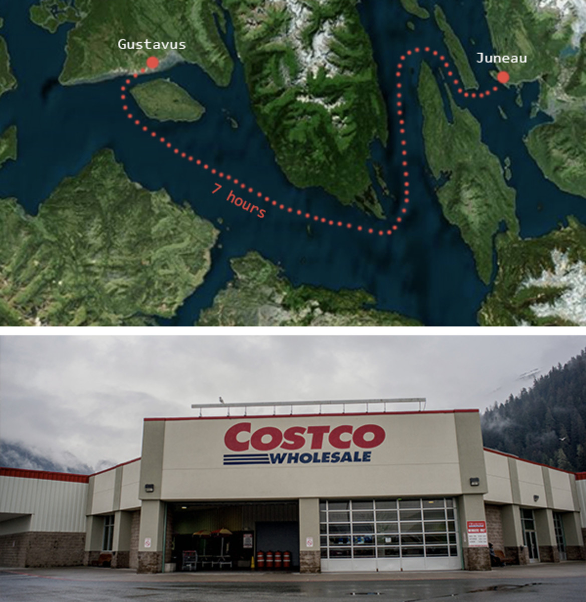 Top: The 7-hour one-way journey from Gustavus to Juneau (The Hustle / Bing Maps); Bottom: The Costco in Juneau, Alaska (Getty Images)