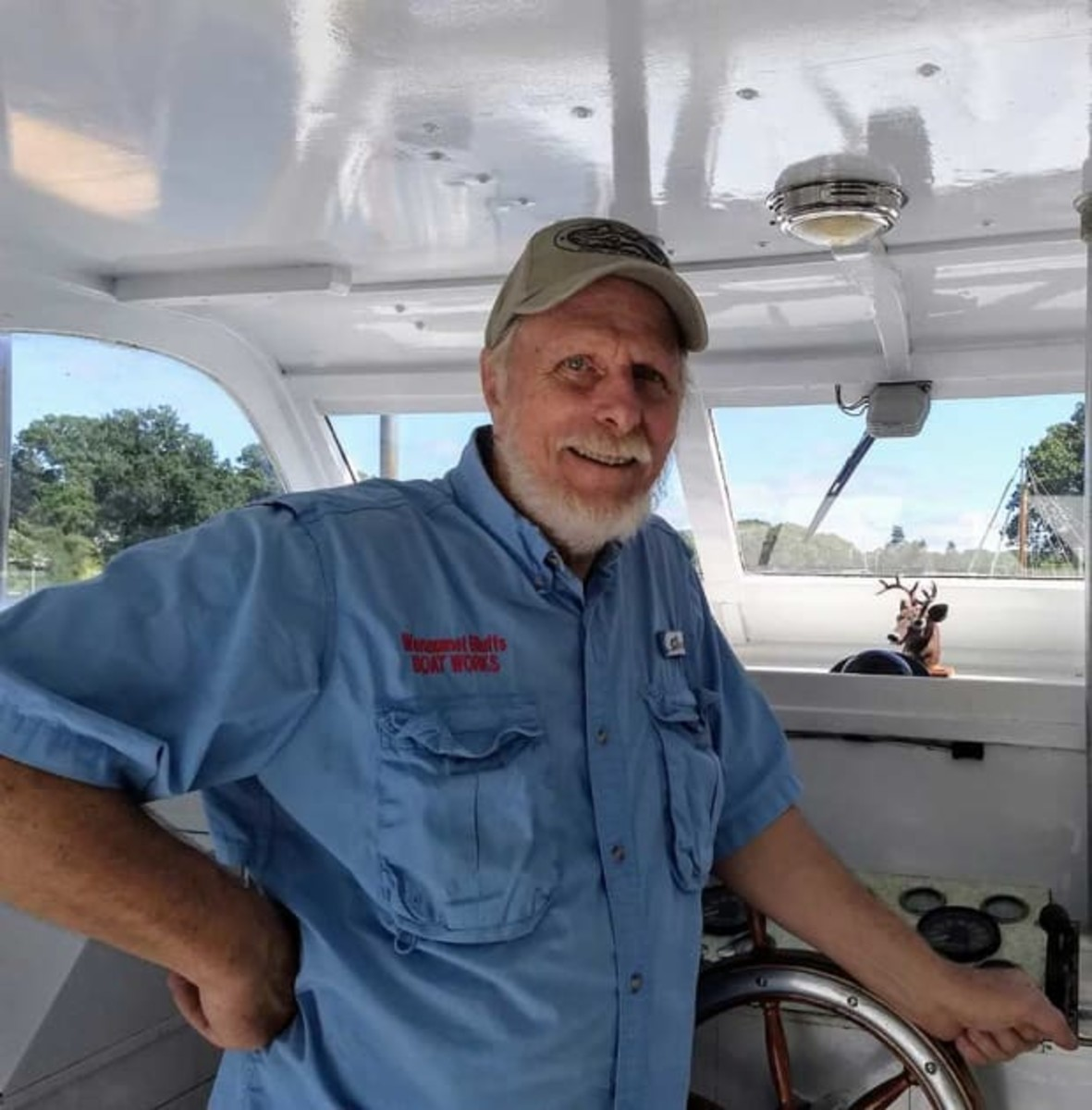Arch enjoys working on his classic boat, which can handle varying sea conditions with ease.