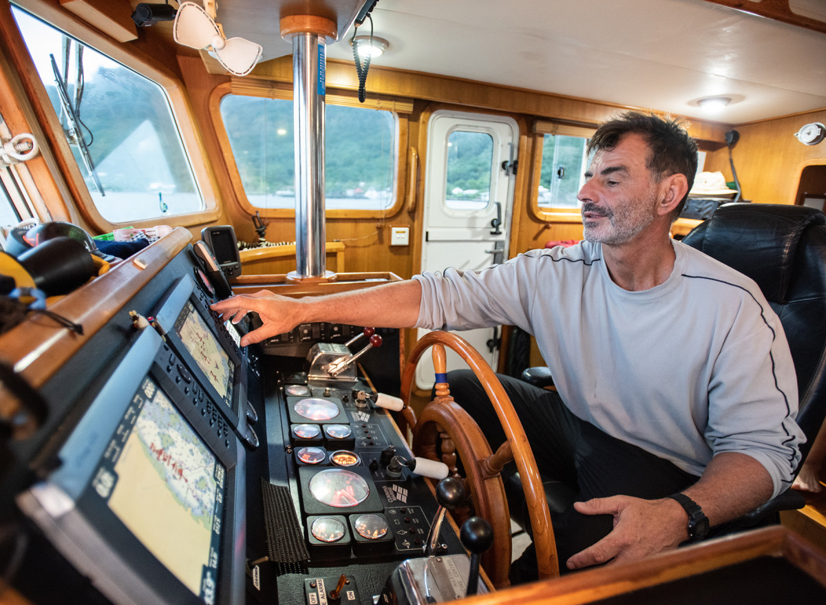 Gale at the helm of Liberty II.