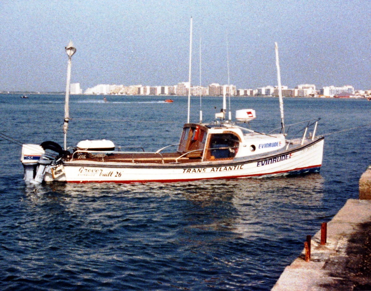 Al Grover made the first nonstop crossing of the Atlantic under outboard power in 1985 aboard his 26-foot Groverbuilt.