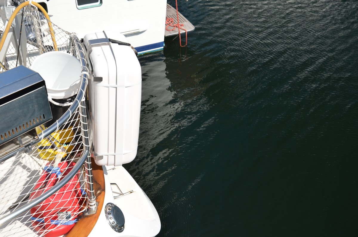 A stern mounted cradle, such as the one shown on this sailboat, can be an excellent location. A number of power vessels might be able to use this option depending on the configuration of the stern.