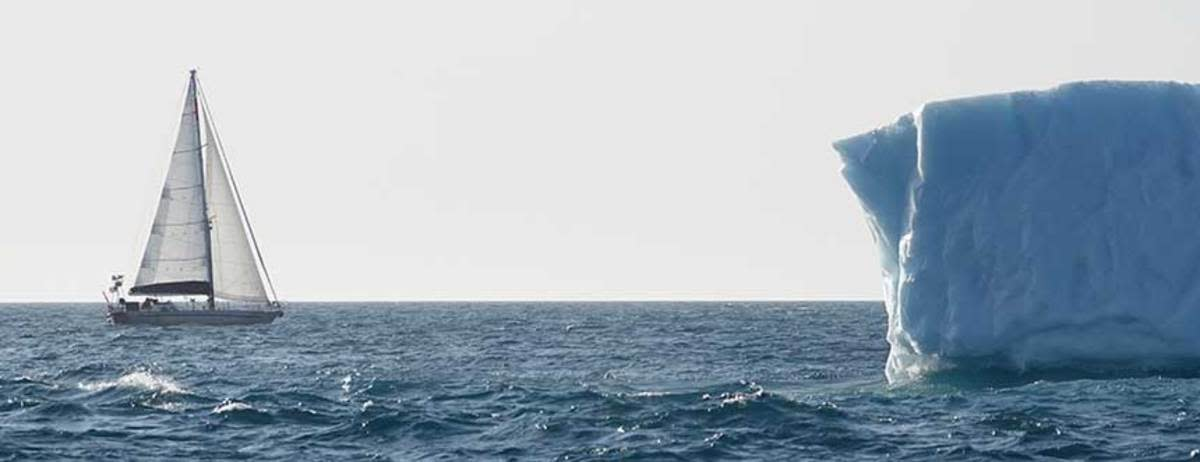 Passing an iceberg in the Arctic Ocean