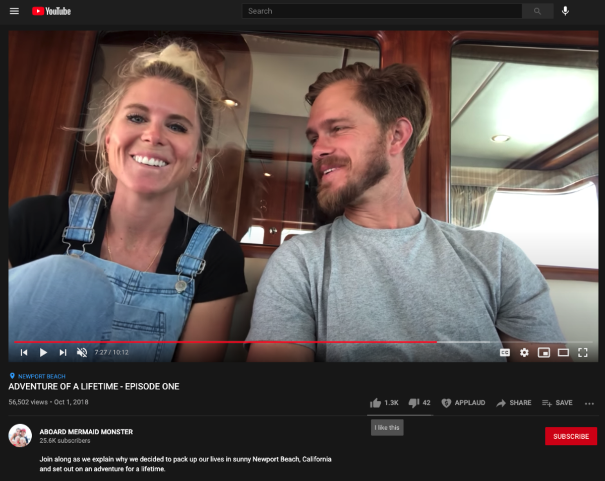 """In July of 2018,Brooke and Braden Palmer sold everything, put renters into their Newport Beach, CA home and moved across America to Southport, NC onto their new floating home, the Nordhavn 55 """"Mermaid Monster."""" Since then, they have cruised more than 2,000 nautical miles, covering the entire US east coast, with plans to eventually circumnavigate the globe, documenting it all as they go on their popular YouTube channel Aboard Mermaid Monster. CLICK HERE to see more."""