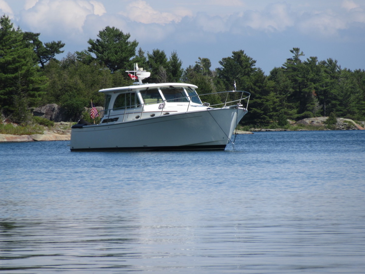 The Denison family's Back Cove 41 MAR-KAT anchored off the North Channel of the Bustard Islands in Ontario, Canada.