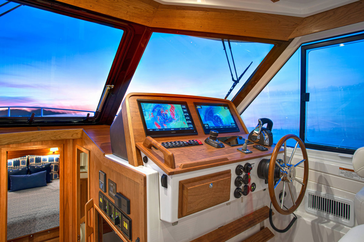 The helm is a study in functional elegance. Visibility is superb from all angles.