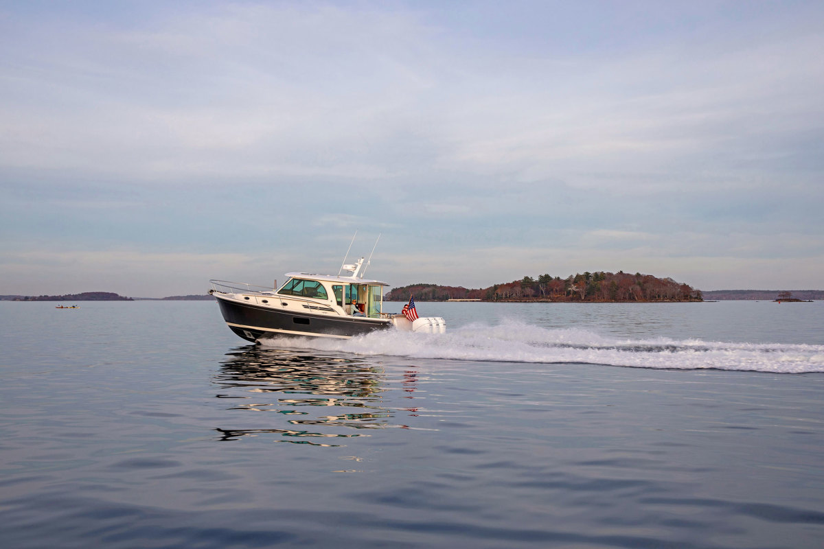 The Back Cove 39O is the Maine boatbuilder's  second outboard-powered model.