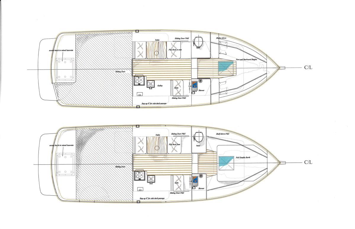 Top: Port and starboard single berth model. Above: Island berth model.