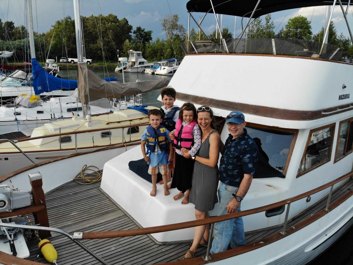 The Schneiderhan family aboard their 1980 Marine Trader 38 trawler
