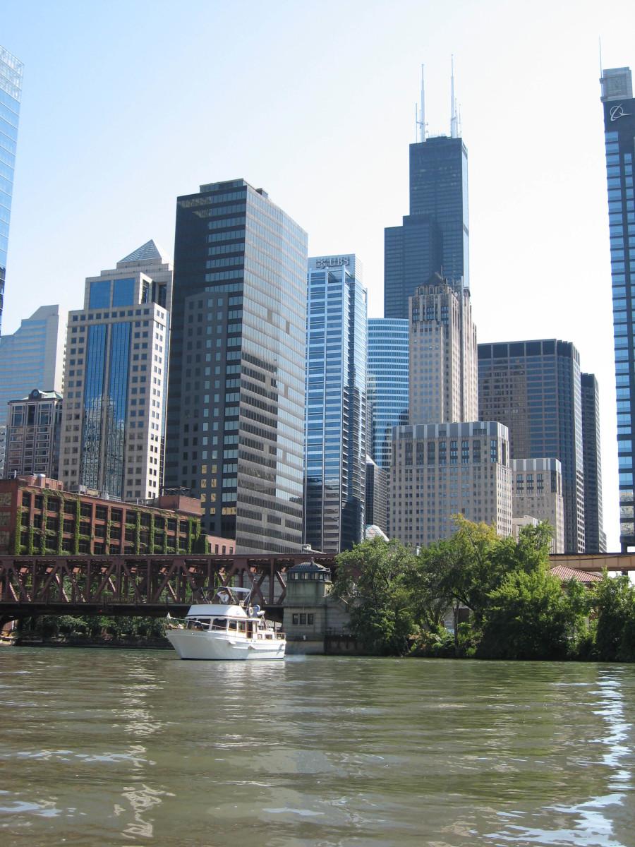 "The Schneiderhans' Marine Trader 38 ""Mazurka"" at the foot of Chicago's Sears Tower"