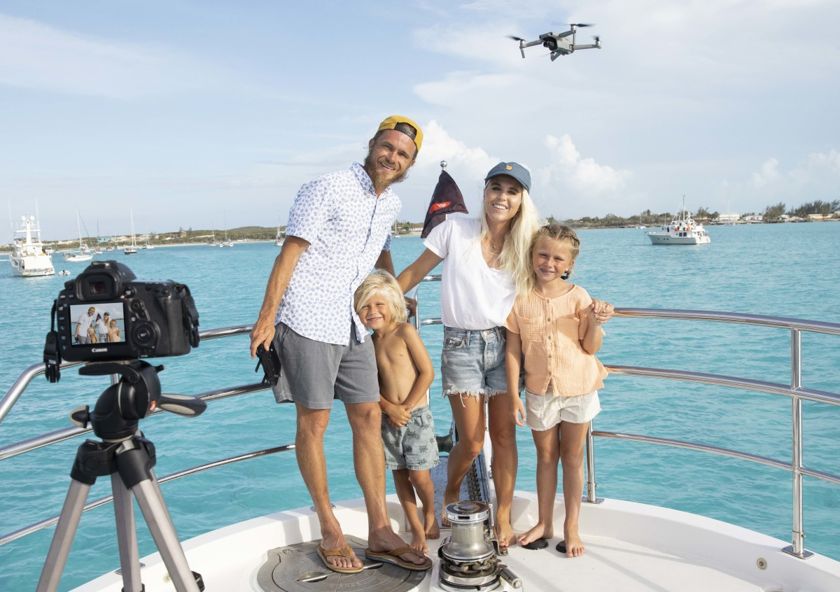 The Palmer family of the YouTube channel Aboard Mermaid Monster in action on their Nordhavn 55 in the Exumas.