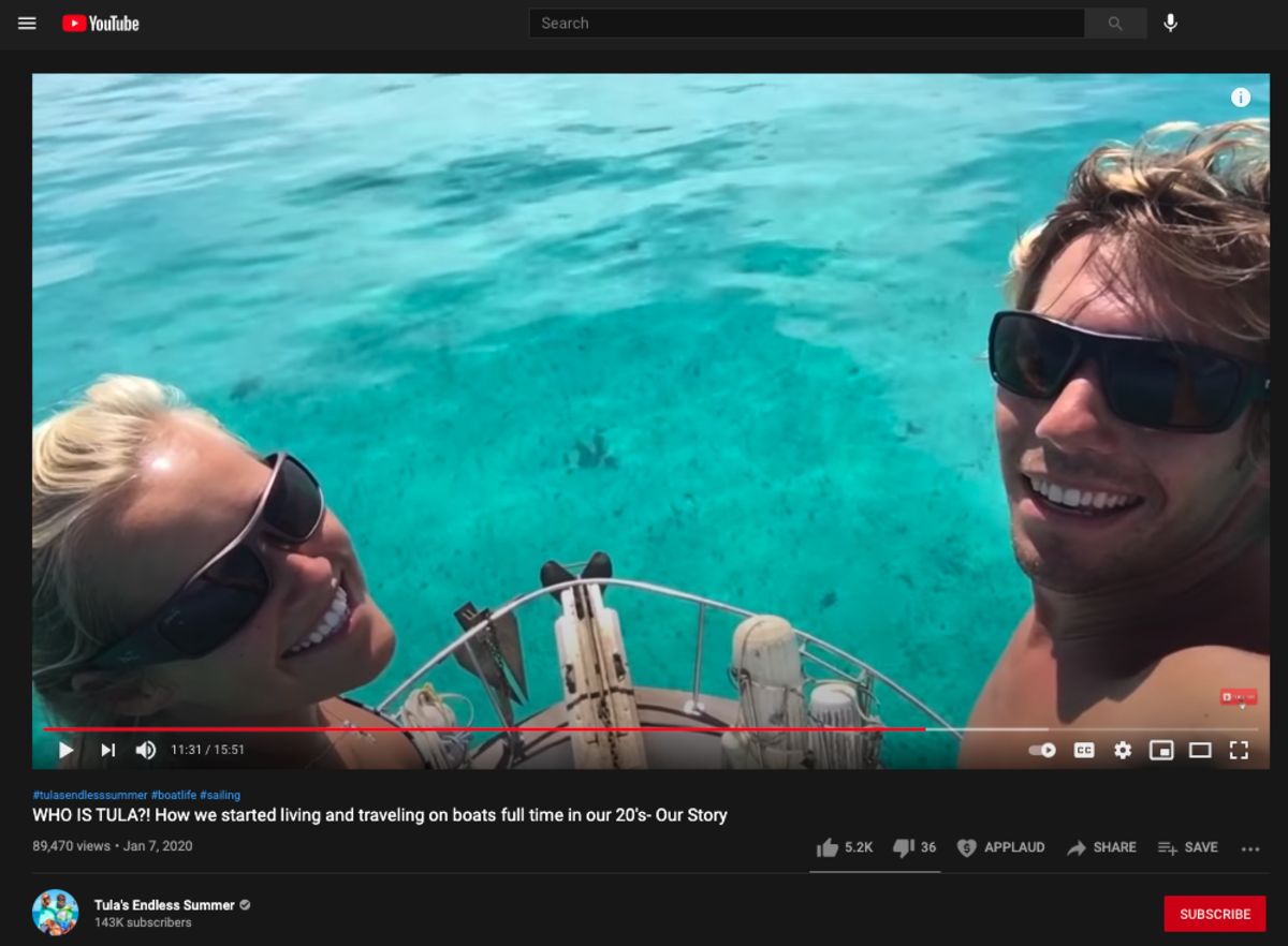 """Billy, Sierra, and their pup Jetty have sailed up and down the east coast, all of the Bahamas and through the Caribbean. They started out on a small monohull sailboat (Tula) and then moved onto an old trawler (Neverland). They now live on a sailing catamaran named Adrenaline. They operate their YouTube channel """"Tula's Endless Summer"""" to share their experiences with the world while educating and inspiring the next generation of cruising enthusiasts. CLICK HERE to follow along."""