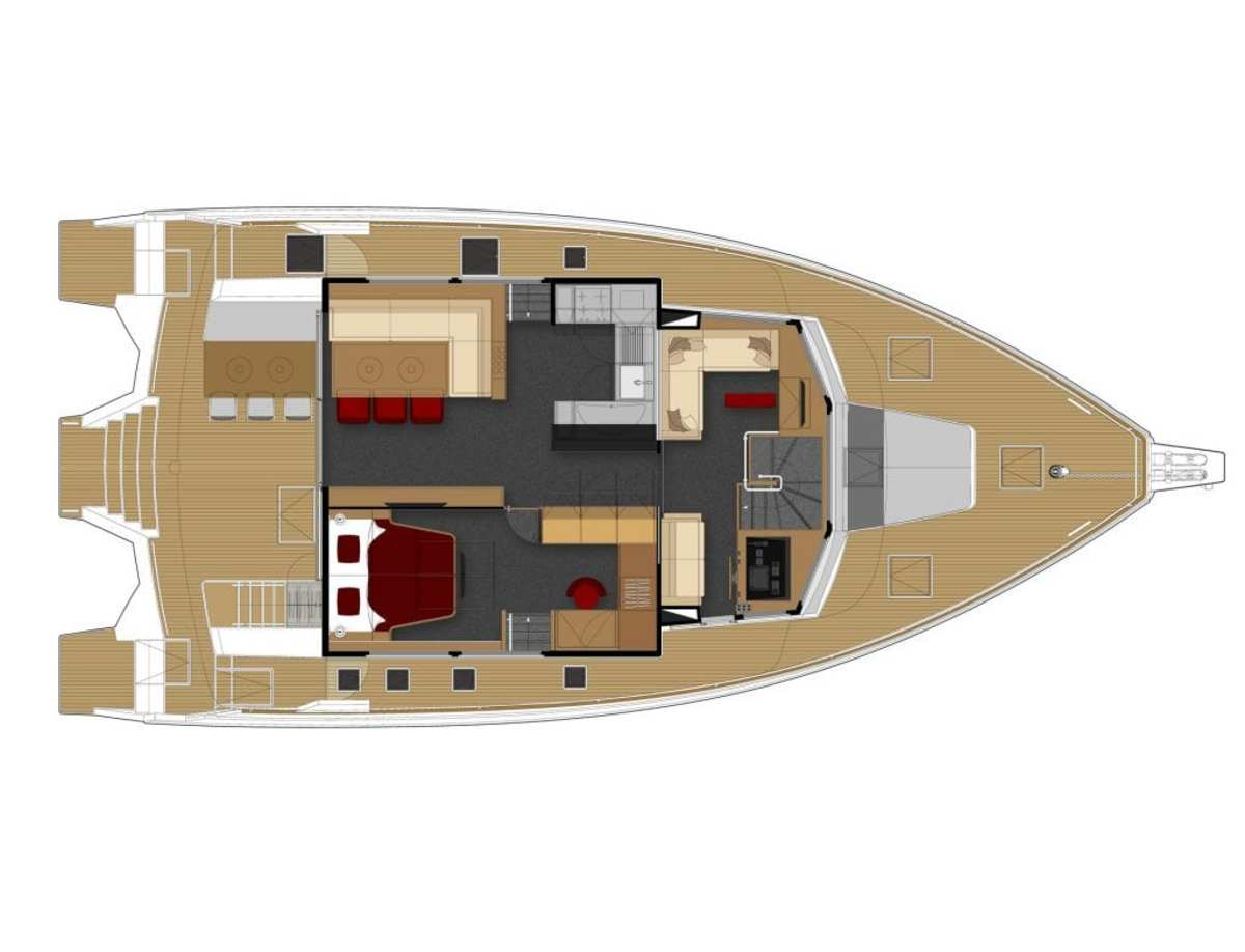 The bedroom and office area of the owner's suite is located on the main deck, on the same level, directly accessible from the saloon.