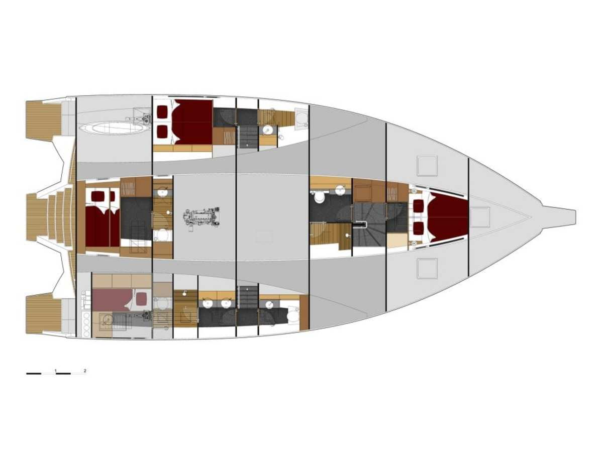 The bathroom area of the owner's suite is on the lower level in the float, directly accessible from the cabin.