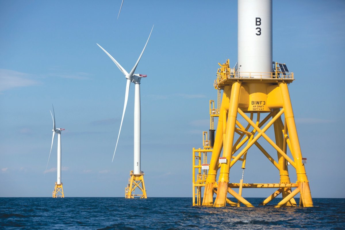 The wind farm off Block Island, R.I., is the only one currently operating on the East Coast. (AP Photo)