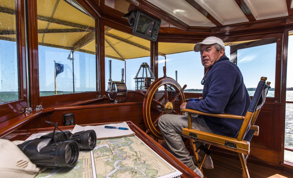 Capt. Bill Seiden steers Freedom toward Charleston, South Carolina