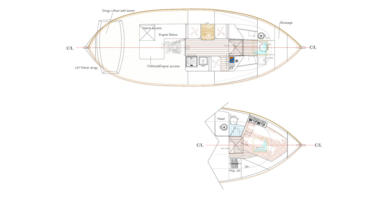 Two layouts for the fo'c'sle arrangements: one with port and starboard berths, the other with a large double berth and enclosed head.