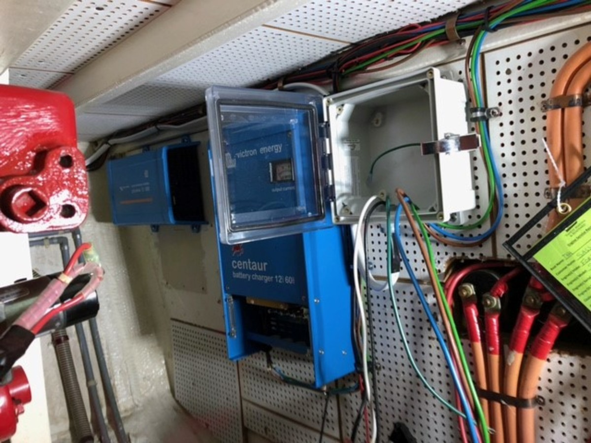 To conform the new inverter/charger system to ABYC recommended standards, a Blue Sea Systems Equipment Leakage Circuit Interrupter was installed.