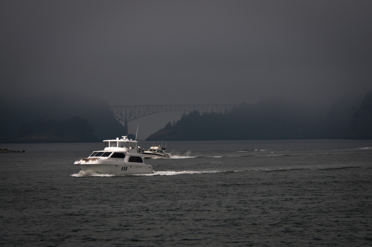 Crossed by a landmark 186-foot-high span, Deception Pass sits at the narrow end of Puget Sound.