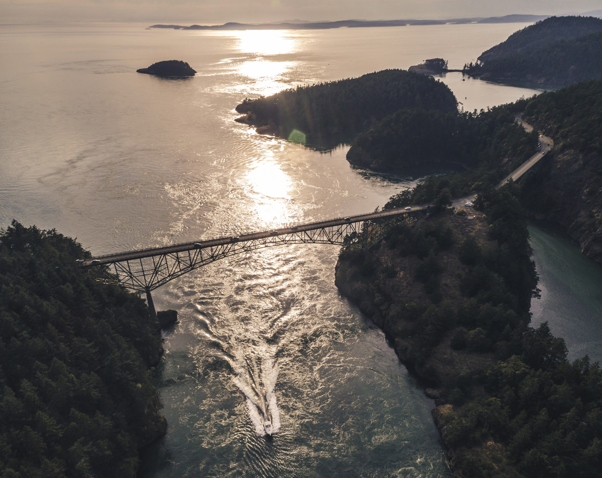 Four times a day, the waters of Saratoga Passage and the Strait of Juan de Fuca surge through the narrow opening to the tune of 2 million cubic feet of water per second.