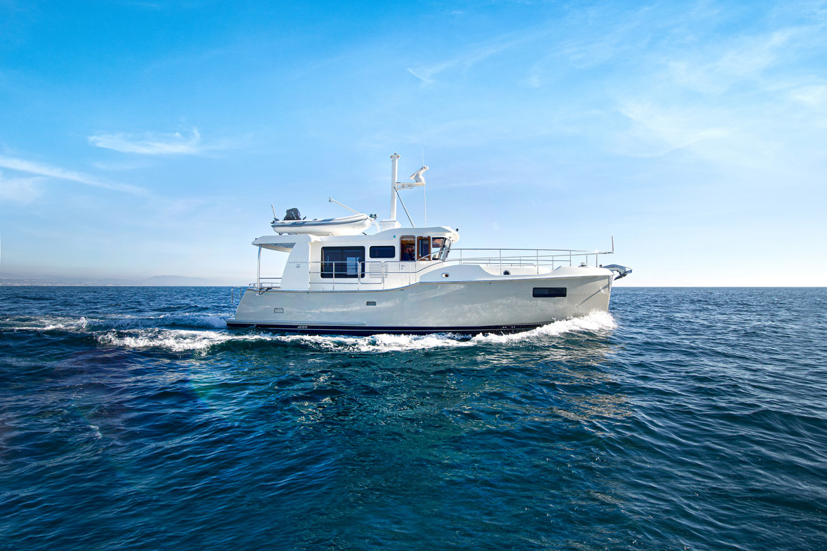 Underway, the Nordhavn is just plain fun. She handles like a ski boat, with the cast bronze airfoil-shaped rudders providing enough bite to turn her within a tiny radius. She's solid, dry and predictable.