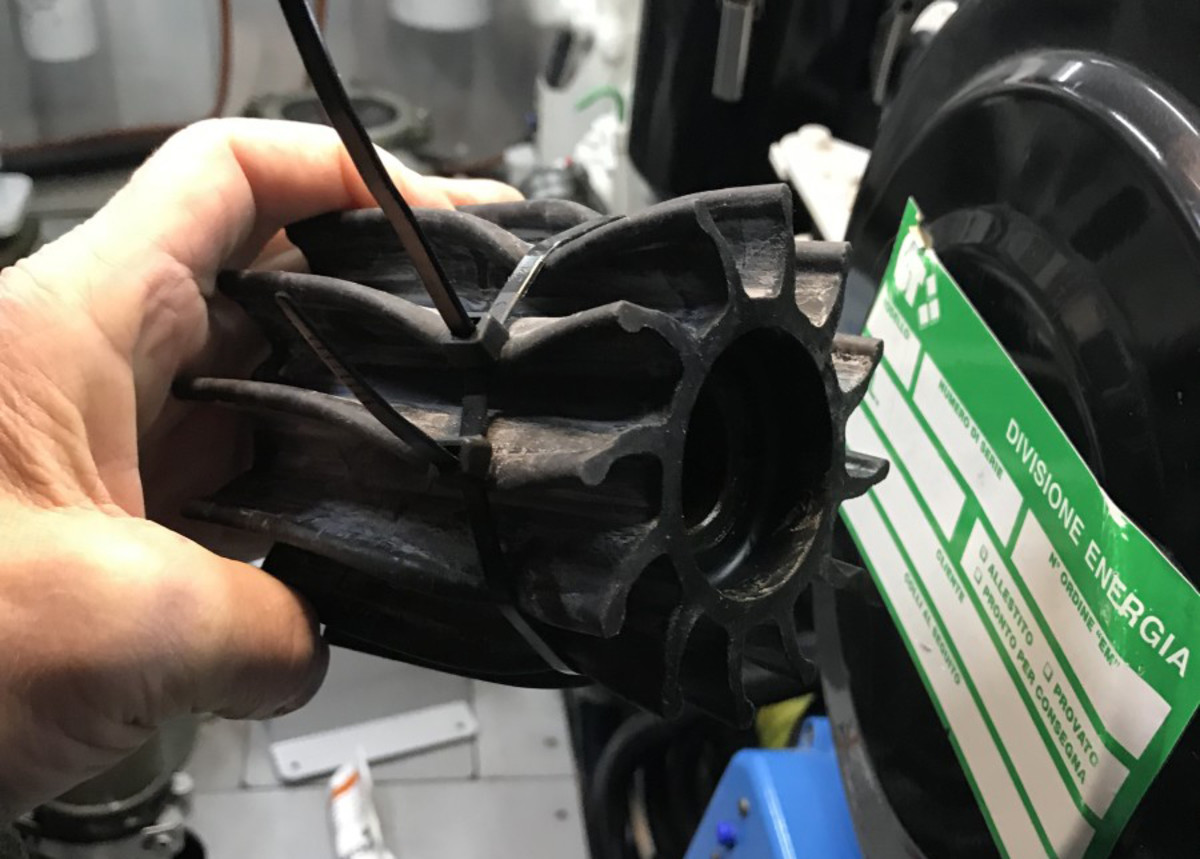 Ty-wraps, also known as cable ties or zip ties, can simplify an impeller replacement.