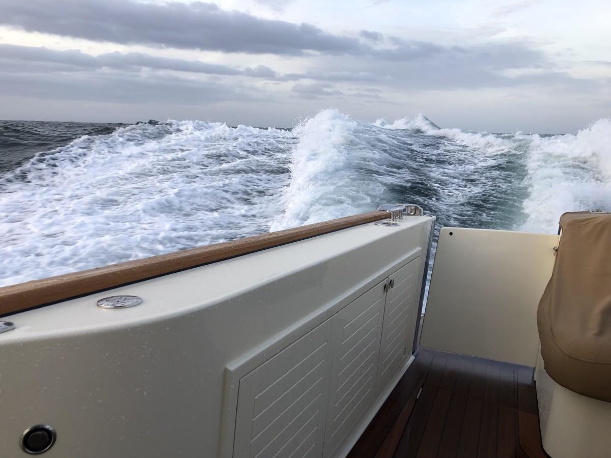 Riding swells heading into the Chesapeake.
